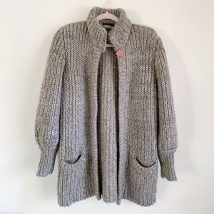 Vintage Taupe Chunky Knit Bubble Sleeve Cardigan M